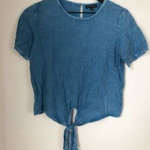 Chambray Front Tie Blouse